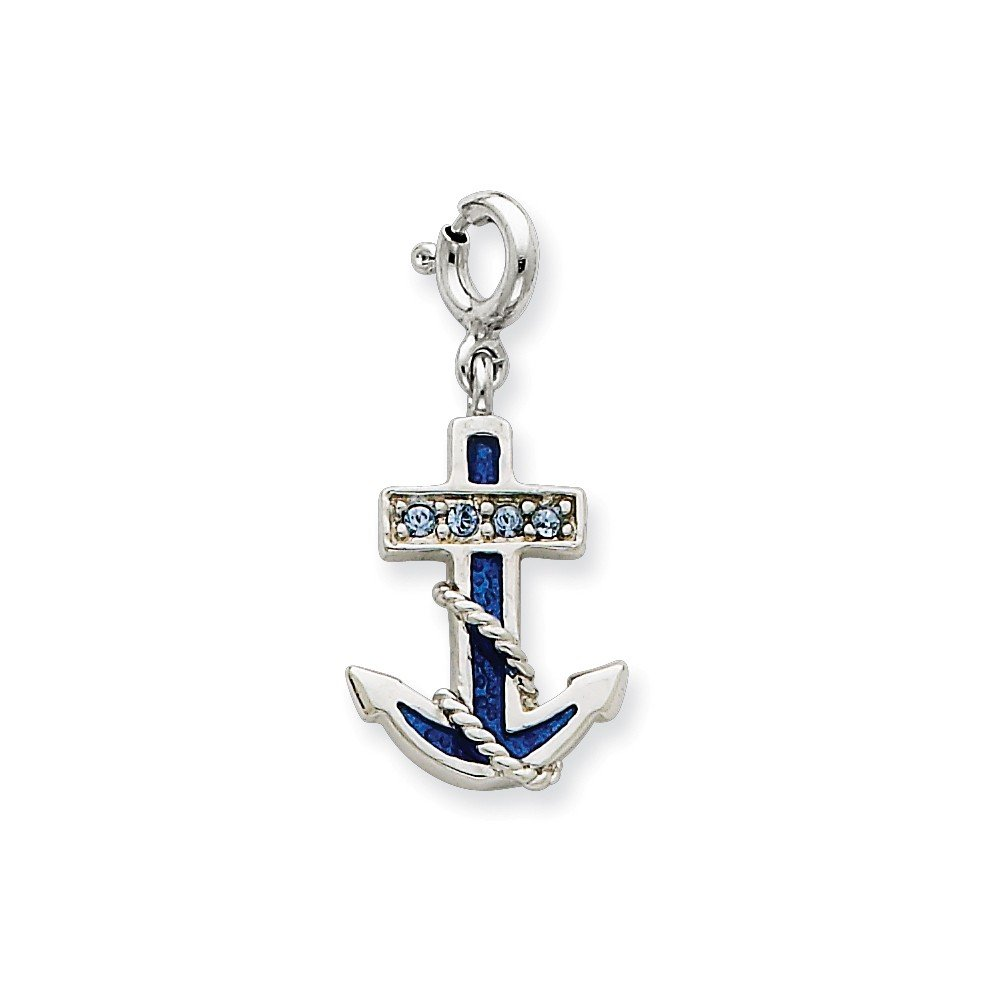 Mireval Sterling Silver Blue Enameled Anchor with Preciosa Crystals Charm on a Chain Necklace 16-20