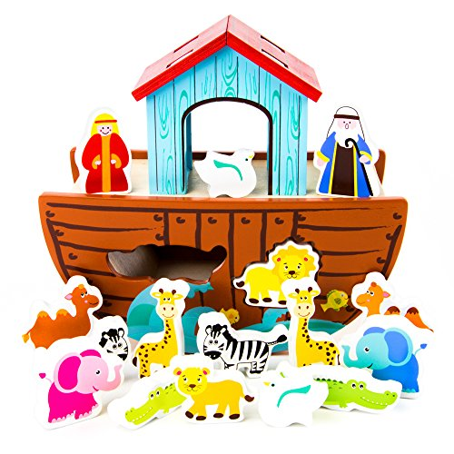 - Noah's Ark Shape Sorter Playset | Biblical Education Toy For Kids | Includes 7 Animal Pairs: Hippos, Lions, Giraffes, Zebras, Elephants, and More | Improves Problem Solving and Fine Motor Skills