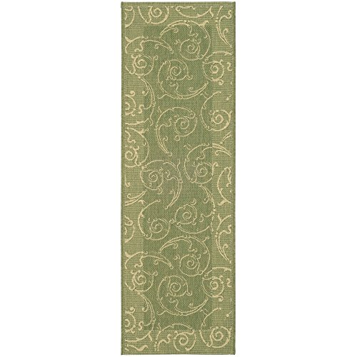 Safavieh Courtyard Collection CY2665-1E06 Olive and Natural Indoor/Outdoor Runner (2'3