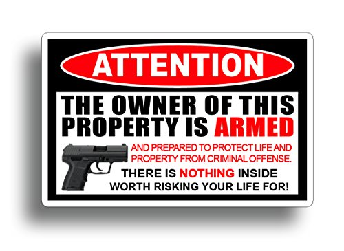 Second 2nd Amendment Handgun Pistol Warning Decal Sticker Gun = By 215 Decals