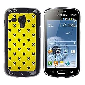 Qstar Arte & diseño plástico duro Fundas Cover Cubre Hard Case Cover para Samsung Galaxy S Duos / S7562 ( Mouse Black Big Ears Woman Wallpaper Pin Up)