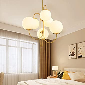 Jinyuze modern 6 light e26 chandelier pendant light with white glass jinyuze modern 6 light e26 chandelier pendant light with white glass round ball lampshade and mozeypictures Images
