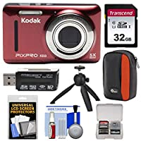 KODAK PIXPRO Friendly Zoom FZ53 Digital Camera (Red) with 32GB Card + Case + Tripod Kit