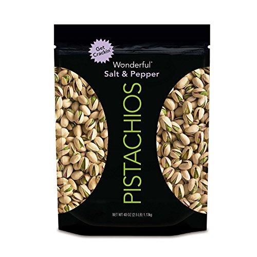 Wonderful Salt and Pepper Pistachios, 40 Ounce, 2.5 Pounds (Cracked Pistachio)
