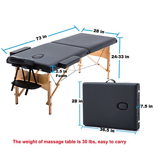 New Black 84'' Portable Massage Table w/Free Carry Case T1 Chair Bed Spa Facial by BestMassage (Image #5)
