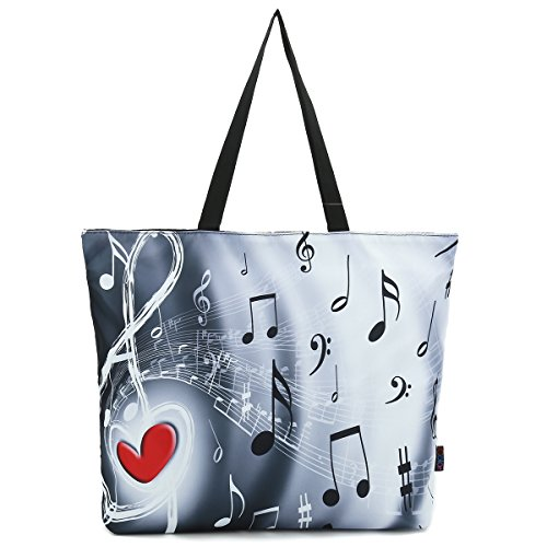 ICOLOR Music Notes Large Eco Reusable Eco-friendly Shopping Bag Handle case Bag School Shopping Large Grocery shoulder bag Reusable Portable Storage HandBags Convenient Shoppers Tote YGWB-36 - Love Music Directors