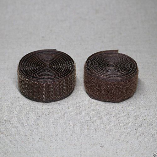 20Yds Hook and loop sew on FASTENER TAPE 25mm wide 11 colours (Brown) by laceking2013
