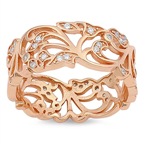 Rose Gold-Tone Filigree White CZ Wide Ring .925 Sterling Silver Band Size - Sterling Silver Filigree Band