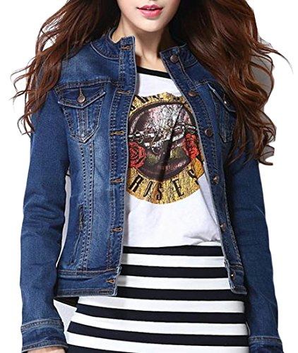 XiaoTianXin-women clothes XTX Womens Long Sleeve Classic Fit Stand Collar Stretch Washed Coat Denim Jacket Blue XS