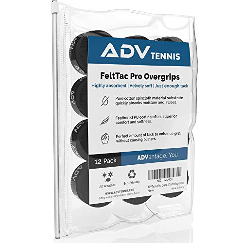 ADV Tennis Dry Overgrip - Remarkably Absorbent - Must Feel Velvety Comfort - Exclusive FeltTac Material (12 Pack, Black) (Tennis Racquet Over Grip)