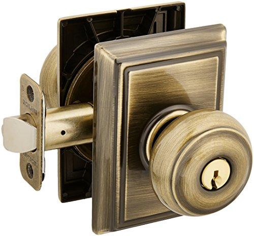 Panic Hardware Schlage (Schlage Lock Company F51AGEO609ADD Antique Brass Georgian Keyed Entry F51A Panic Proof Door Knob with Addison Rosette)