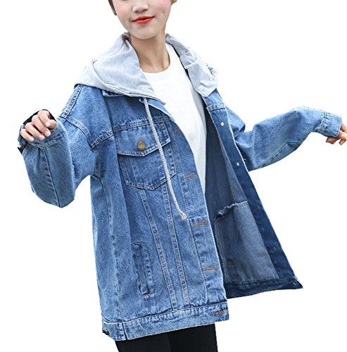 Con Gladiolusa Giacca Maniche Jeans In Giubbotto Cappuccio Chiaro Azzurro Lunghe Donna xBUB0HwZq