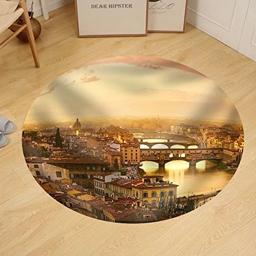 Gzhihine Custom round floor mat Sunset View of Bridge Ponte Vecchio. Florence - Outlet Florence Stores