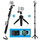 CamKix Premium 3in1 Telescopic Pole 16 - 47 Inch and Tripod Base Kit for GoPro Hero 7 / 6 / 5 / 4, Session, Black, Silver, Hero+ LCD, 3+, 3, 2, 1, Camera and Smartphone - Strong Lock System - Elevate 47 Inch