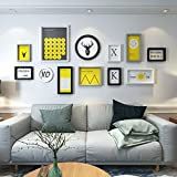 Home@Wall photo frame Composite Solid Wood, Hypotenuse Three-dimensional Photo Frame Wall Sets Of 12 Combination Decorative Paintings Set ( Color : D )