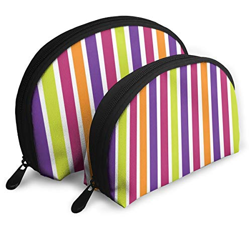 Taslilye Vertical Stripes Orange Purple Blue Red Personalized Cosmetic Bag Shell Shape Large One for Ladies Cosmetics Storage]()