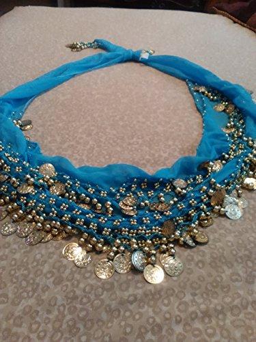 Buy Home Chiffon Dangling Gold Coins Belly Dance Hip Skirt Scarf Wrap Belt (Sky Blue) - Gold Chiffon Hip Scarf