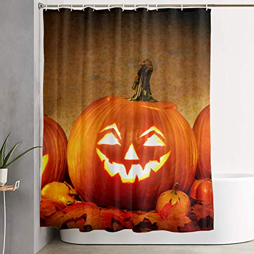 Jack O Lantern Carving Pumpkin Halloween Scary Ghost Bathroom Shower Curtain Decorative Toilet Celebrate Ornament Picks Set Prints Themed All Supplies Accessories Sale Indoor Home Room ()
