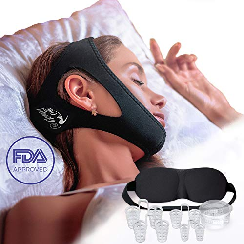 Sleepy Cat Set of Anti Snoring Chin Strap Nose Vents and Eye Mask, Snoring Solution, Adjustable and Flexible for Sleeping for Men Women black ()