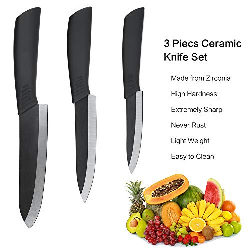 Black Ceramic Knife Set 3 Piece (Includes 6-inch Chef's Knife, 5-inch Utility Knife and 4-inch Fruit Paring Knife), with 3 Knife Sheaths for Each Blade - Super Sharp, Rust Proof Kitchen knives Sets - Knife Set Ceramic Black