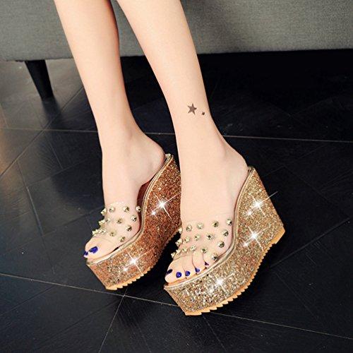 épaisses de d'été Sandales Forme Femmes Strass Or Coins JITIAN Plate Dérapante Paillettes Talon Haut extérieure Anti Sandales qvOU77wxF