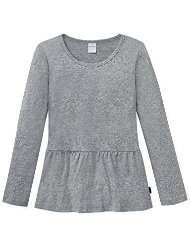 Schiesser Mädchen Schlafanzugoberteil Mix&Relax Shirt 1/1, Grau (Grau-Mel. 202), 152