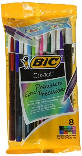 Bic Corporation MSEAP81 0.7 mm. Cristal Xtra Precision Fine Stic Ballpoint Pen, Assorted