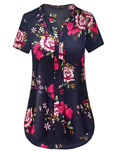 Anmery Women's V Neck Hi-Low Curved Hem Short Sleeve Business Tops and Blouses Shirts