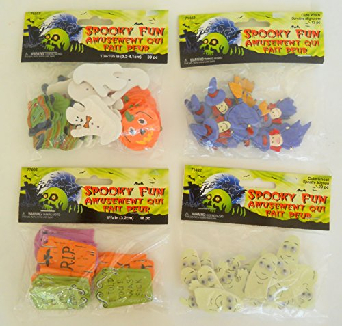 Set of 4 Halloween Spooky Wooden Craft Shapes - Ghost Witch 89 Pieces Approx. 1.1/4