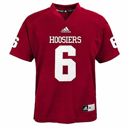 adidas Indiana Hoosiers NCAA Red Official Home #6 Replica Football Jersey for Youth (M)
