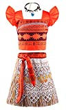 JerrisApparel Princess Moana Costume Two-Piece Skirt Set Dress up for Girls (5-6, Orange)