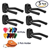 Guitar Hangers, 5 Pack Guitar Wall Mounts Stand Holder Hook Fits Most Guitars w/ 10 Picks + 1 PU Pick holder Case