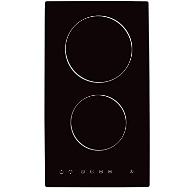 NOXTON Ceramic Cooktop Built-in 2 Burners Electric Stove Electric Hob With Touch Control Child Lock Timer Easy To Clean 3000W