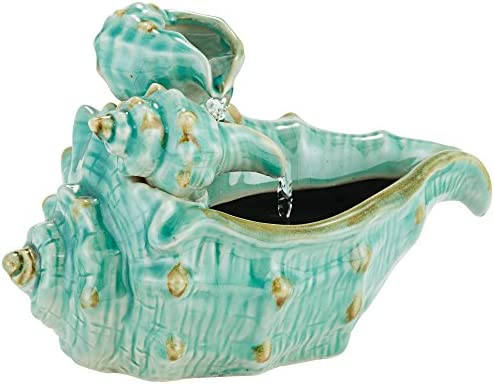 John Timberland Seashells Modern Zen Indoor Table-Top Water Fountain 7 High Cascading for Table Desk Office Home Bedroom