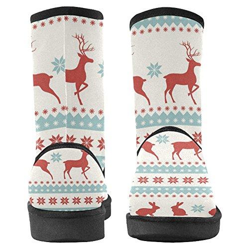 Snow Stivali Da Donna Di Interestprint Design Unico Comfort Invernale Stivali Natale Con Cervi E Conigli Multi 1