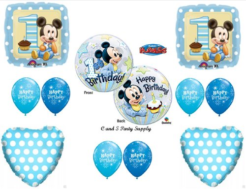 NEW!! Baby Mickey Mouse Birthday 1st First Party Balloons Decorations -