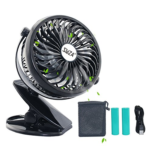 Stroller Fan Clip on Fan Rechargeable Battery Operated Fan - Powerful Airflow Low Noise - SWZA Portable Clip
