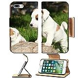 Liili Premium Apple iPhone 7 plus iPhone 8 plus Flip Pu Wallet Case IMAGE ID: 22745133 Gorgeous puppies of Jack Russell Terrier in the garden