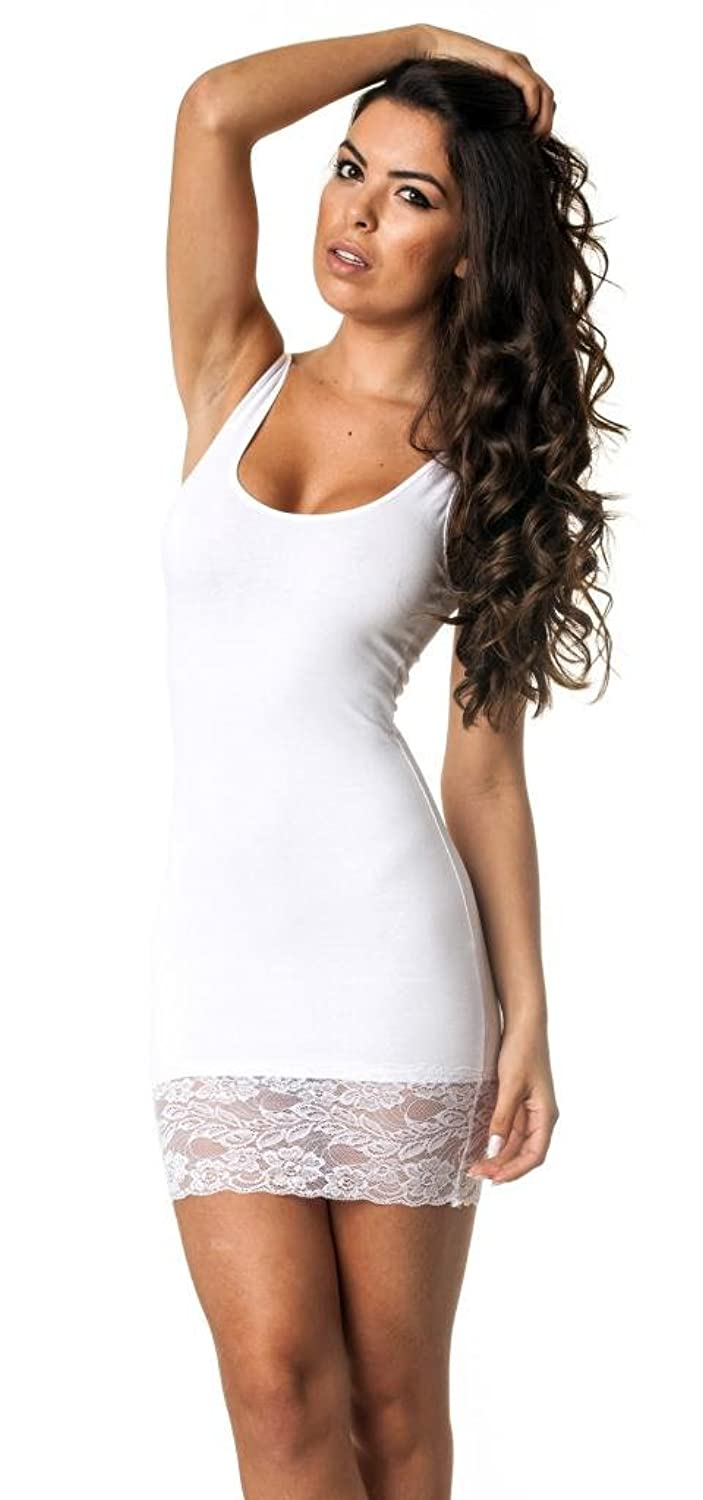 Lace Coqueta Tube Mini Dress Strechable Sexy Spandex Tight Fitted Party Dress White