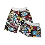 Set Of Two Cute Cartoon Couple Beach Pants/Athletics Shorts