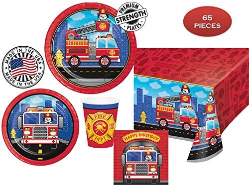 FLAMING FIRETRUCK Birthday Party Plates, Napkins, Cups + Tablecover - Firefighters, Dalmatian and Fire Trucks Birthday Party | 65 pieces |16 guests | MADE IN THE -