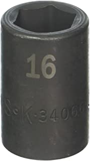 product image for SK Hand Tool 34066 1/2-Inch Drive Standard Impact Socket, 16mm