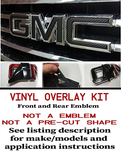 Overlay Kit (GMC FRONT and REAR Emblem Overlay Kit Yukon, Sierra, Denali, Acadia, Terrain 3M BLACK CARBON FIBER - 2 KITS)