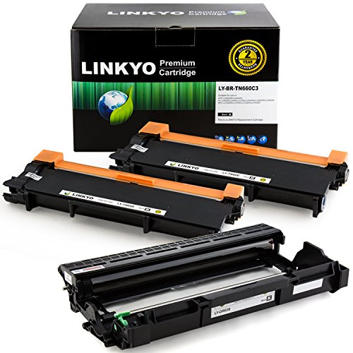 Yield Drum Unit (3-Pack LINKYO Replacement Toner and Drum Set for Brother TN660 TN-660 TN630 DR630 (2 High Yield Black Toner, 1 High Yield Black Drum))