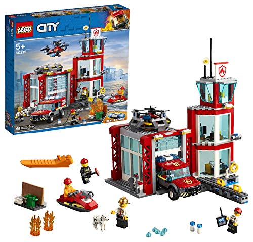 LEGO City Fire Station Building Set, Fire Toy Truck Water Scooter & Drone, Firefighter Toys for Kids