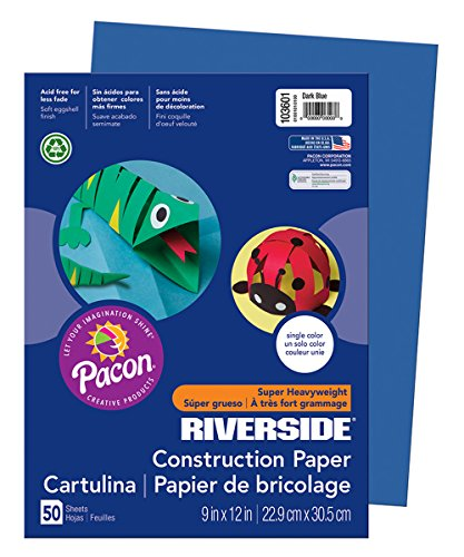 Pacon Riverside Construction Paper, 9-Inches by 12-Inches, 50-Count, Dark Blue (103601)