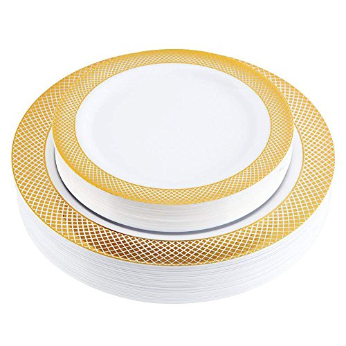 (60 PCS Gold Plastic Plates,Heavyweight Gold Rim Party Plates,Elegant Disposable Wedding Plates Includes 30 Dinner Plates 10.25 Inch and 30 Salad / Dessert Plates 7.5 Inch)