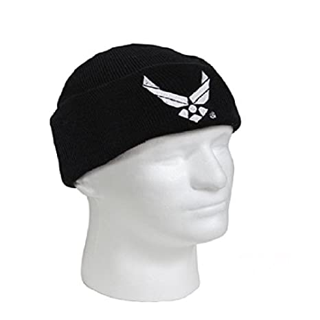 Amazon.com  Embroidered US Air Force USAF Black White Officially Military  Cuff Watch Cap Stocking Hat Beanie  Sports   Outdoors 80bd9a8839d