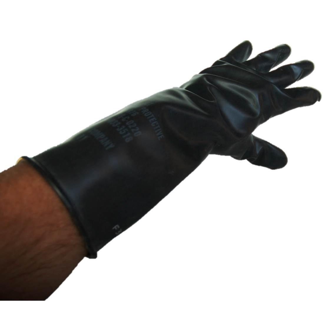 Norton Chemical Resistant 14-Mil Black Butyl Rubber Gloves, Men's Medium, 14.5'', 72-Count