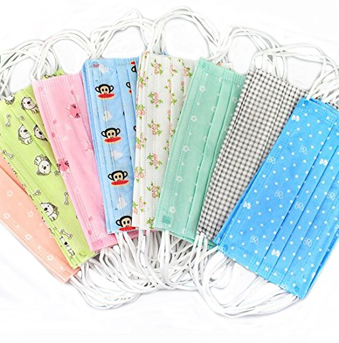 Flyusa 100 Pcs Cute Fashion Face Mask,3 Layer Cartoon Colorful Print Spunlace Cloth Disposable Earloop Face Mask Surgical Dust Filter Mouth Cover Mask